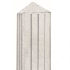Betonpaal grijs 10x10x280 cm diamantop 3 groeven