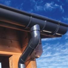 Kunststof dakgootset zwart 100 mm voor 2 zijden 500 cm