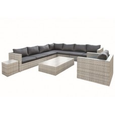 Wicker loungeset Greenwood grijs geméleerd