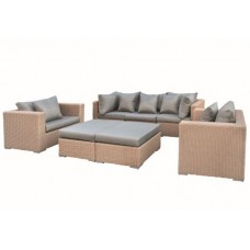 Wicker loungeset Long Beach licht bruin