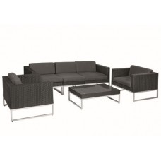 Wicker loungeset Richmond zwart