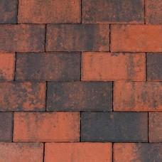 Halve betonklinker 10,5x10,5x8 cm rood zwart